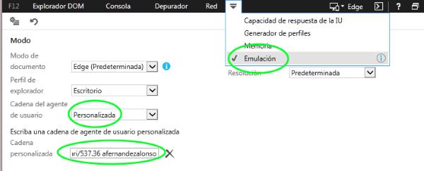 Cambiar el agente de usuario en Internet Explorer