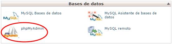 phpMyAdmin en la sección Base de Datos del cPanel