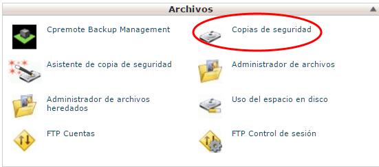 Herramienta de copias de seguridad de cPanel