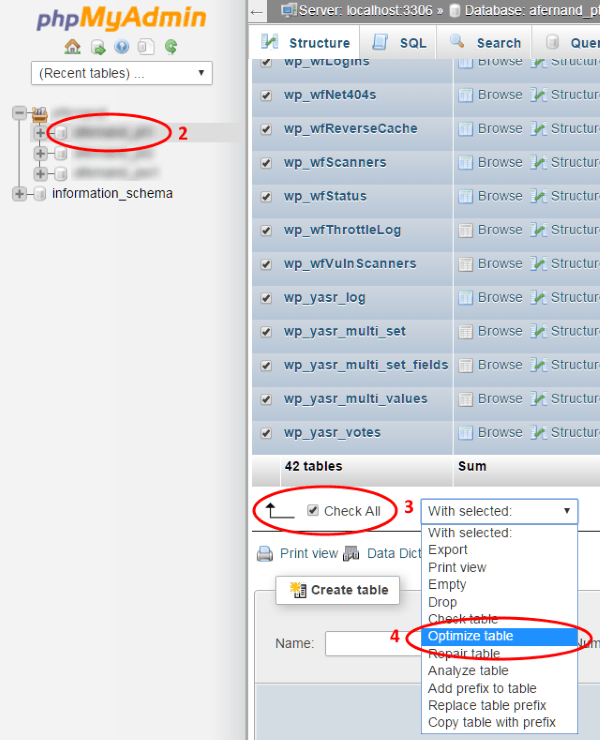 Cómo desfragmentar la Base de Datos con phpMyAdmin en cPanel