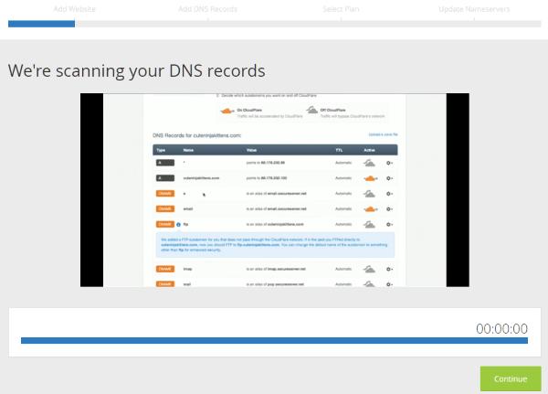 Escaneo de los registros DNS para crear cuenta CloudFlare