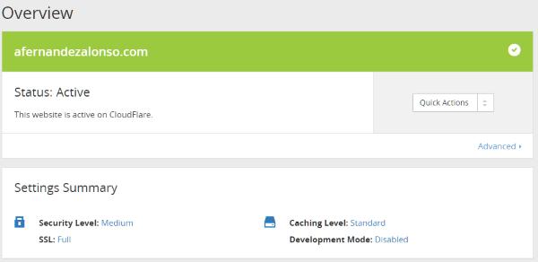 Panel de control (dashboard) de CloudFlare con el servicio CDN activado