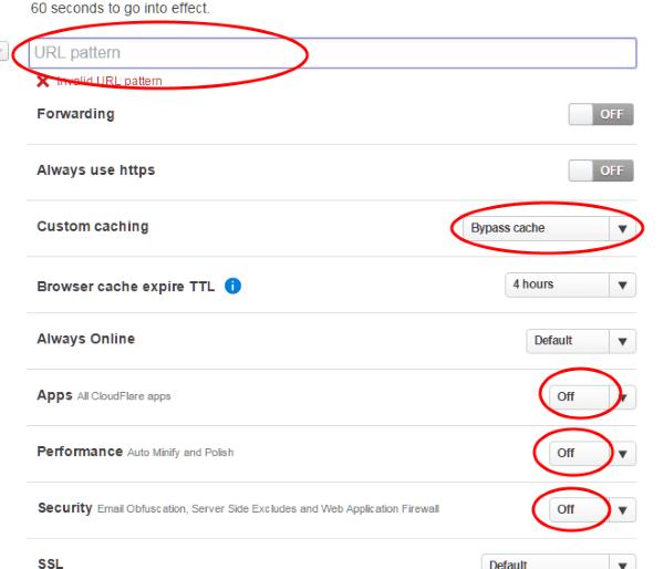 Page Rule para la página de administracíon de WordPress