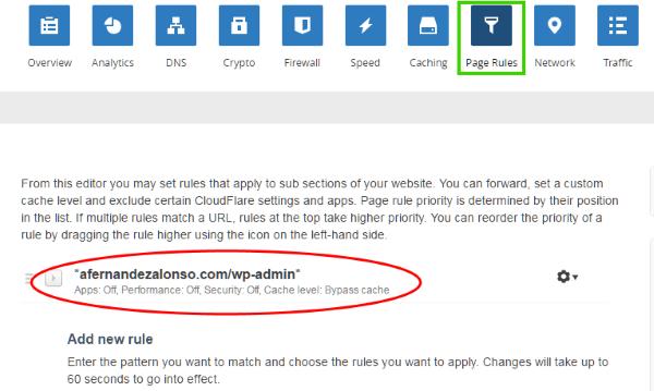Crear reglas de página (page rules) en CloudFlare