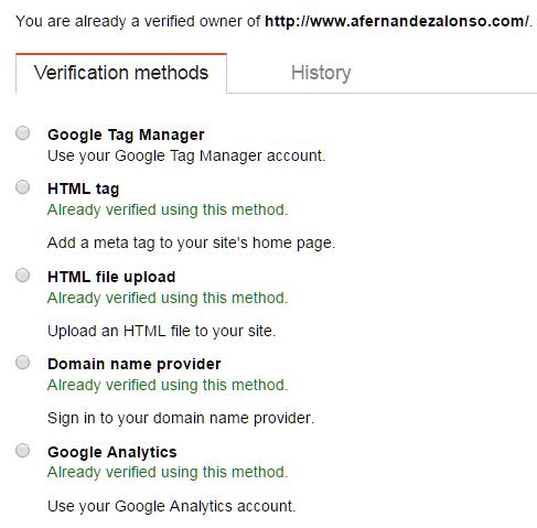 Métodos de verificación del propietario del sitio web en Consola de Búsqueda