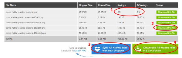 Listado de resultados de la optimización de imágenes con Kraken