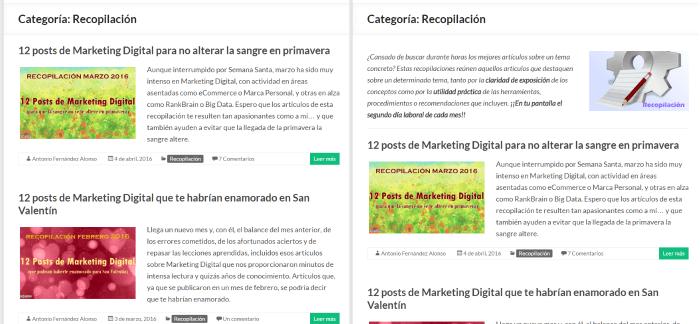 Comparación entre una pagina archivo de categorías con o sin introducción en WordPress