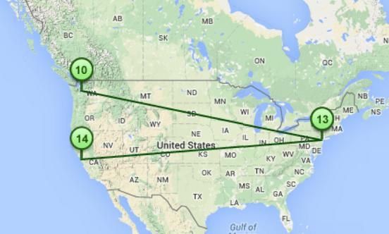 Mapa visual con el trazado de ruta (traceroute)