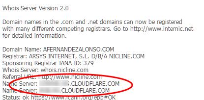 Nuevos nameservers de CloudFlare en el registro whois.net