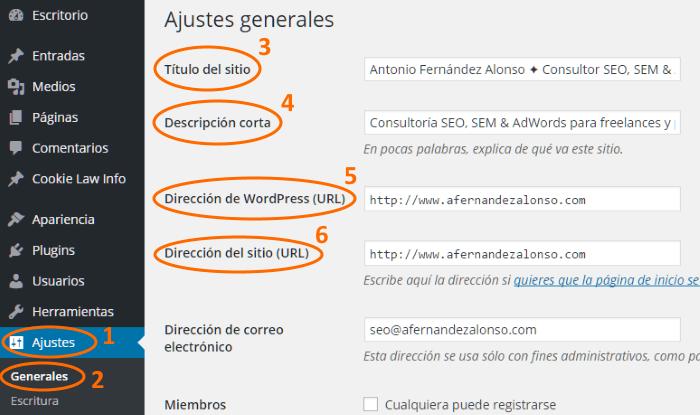 Ajustes generales de WordPress: título, descripción y direcciones