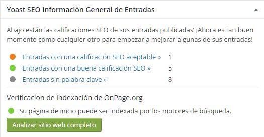 Verificación de indexación del sitio web por los buscadores