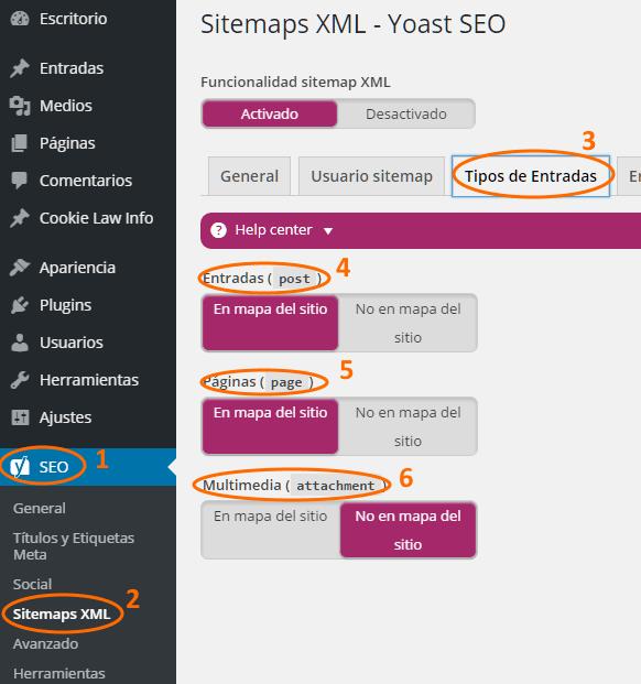 Configuración de sitemaps para cada tipo de entrada (post, página, multimedia)
