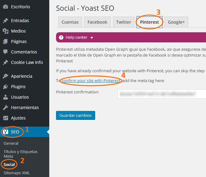 Configuración y confirmación de autorización de Pinterest en Yoast