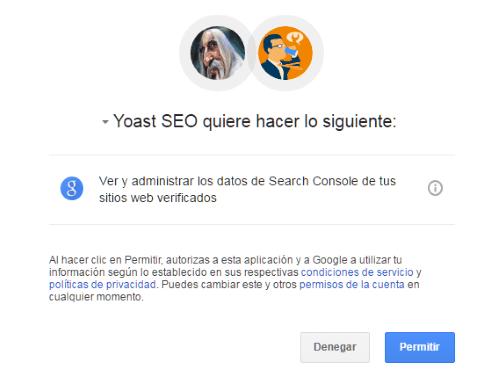 Autoricación y autenticación de Yoast SEO con cuenta de Google