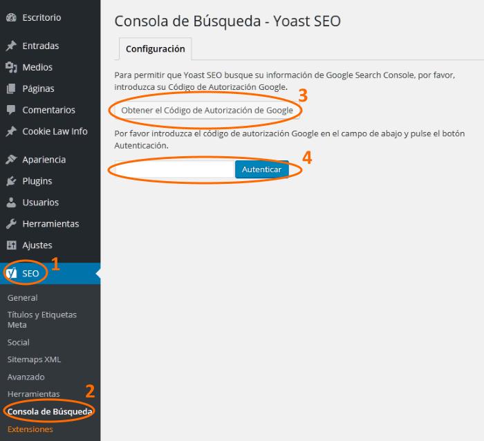 Conexión y autorización con Consola de Búsqueda de Google