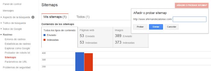 Subida del fichero sitemap a la consola de búsqueda de Google
