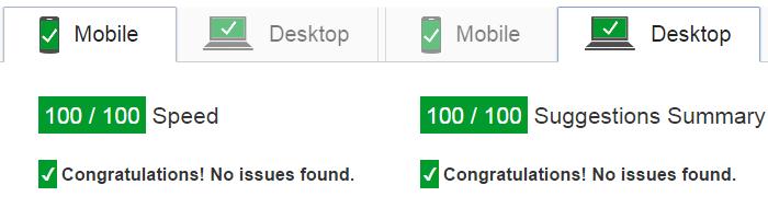 PageSpeed Insights al pleno: 100/100 para móviles y ordenadores
