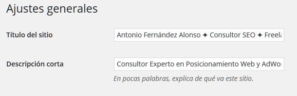 Título y descripción corta de un sitio web en WordPress