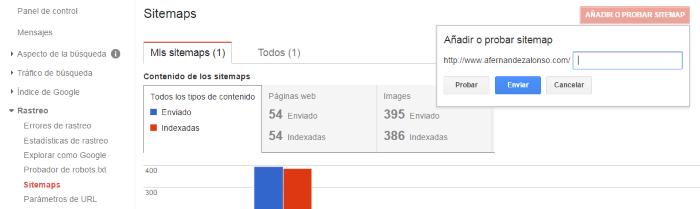 Añadir o probar el sitemaps en el rastreo de la consola de búsqueda