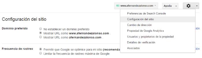 Configuración del dominio preferido del sitio en Search Console