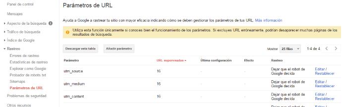 Parámetros de URL para rastrear el sitio web