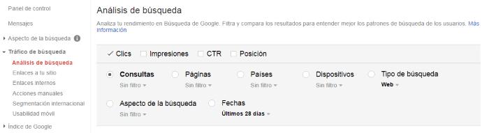 Análisis de búsqueda del tráfico del sitio web