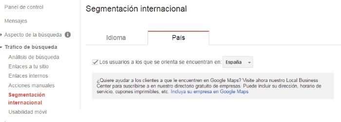 Segmentación internacional del sitio web dentro del tráfico de búsqueda