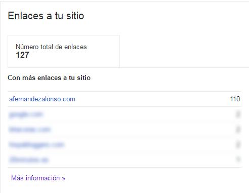 Relación de enlaces a sección del sitio web en Search Console