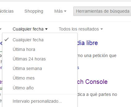 Intervalos de fechas en Herramientas de búsqueda de Google
