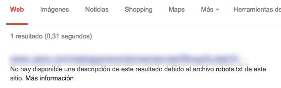 Descripción de un recurso bloqueado por robots.txt en los SERP's