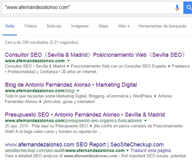 Resultados de búsquedas de URLs en Google