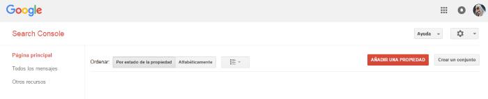 Añadir una nueva propiedad en Search Console para poder analizar sus búsquedas