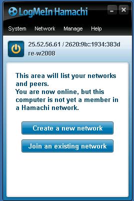 Panel de control y configuración del VPN Hamachi