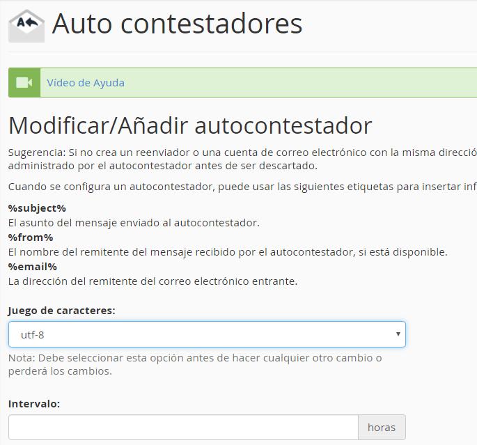 Configuración del autocontestador del correo electrónico