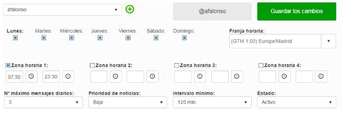 Configuración de la planificación de un difusor en BlogsterApp