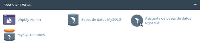 Sección de herramientas de Bases de Datos de cPanel