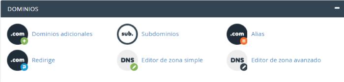 Sección de herramientas de Dominios de cPanel