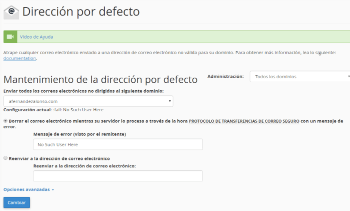 Configuración de la dirección por defecto para el dominio completo