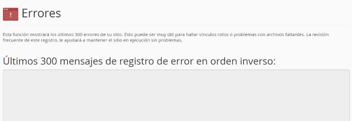 Listado de los registros de error en el servidor web