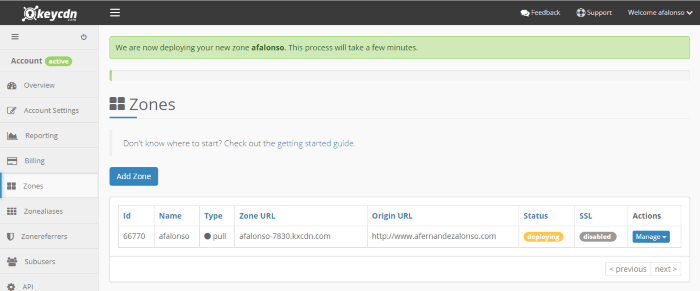 Zonas disponibles en la cuenta de KeyCDN y su estado