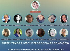 Equipo de tuiteros oficiales del Congreso de Marketing de Almería 2018, liderados por Elena Lavagna