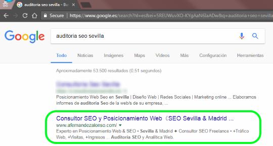 1ª posición para Auditoría SEO Sevilla en los resultados de búsqueda