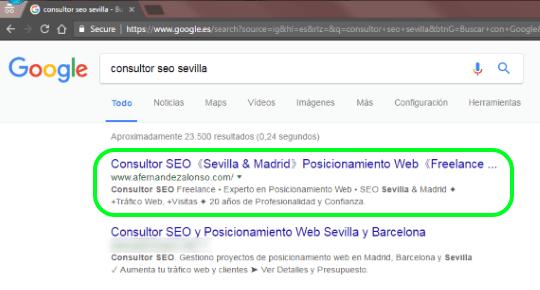 1ª posición para Consultor SEO Sevilla en los resultados de búsqueda