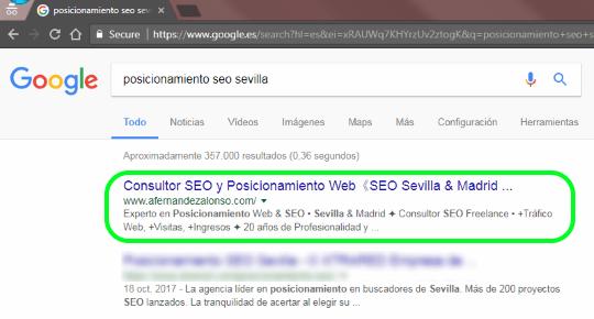 1ª posición para Posicionamiento SEO Sevilla en los resultados de búsqueda